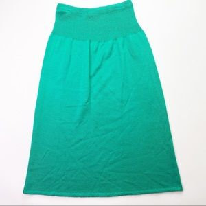 Vintage Green Tube Dress Soft Strapless
